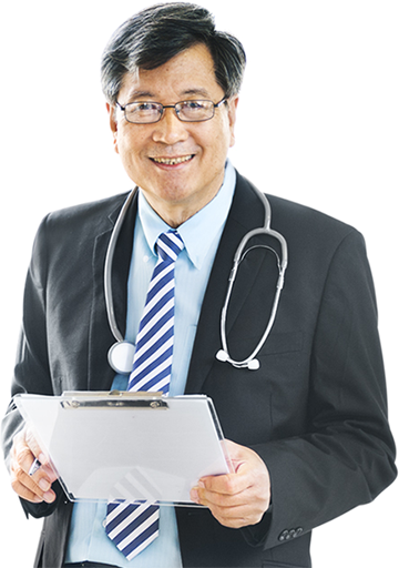 A doctor with a clipboard eager to help